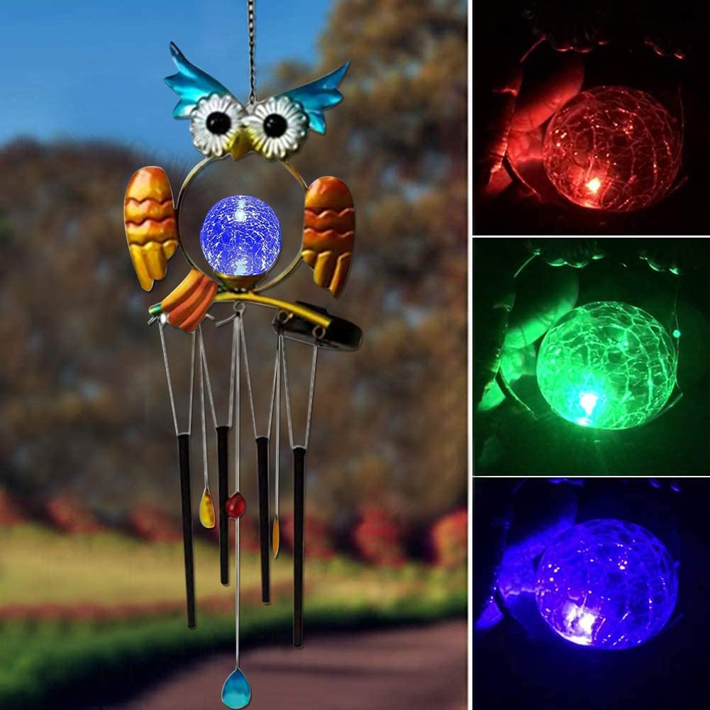 Owl Solar Wind Tulsa Mall Chime Max 61% OFF Powered with Lights Aluminium Tubes f