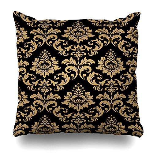 Mesllings - Federa per cuscino con motivo floreale, stile barocco, damascato color oro, riccamente nero, astratto, stile reale, antico scuro, per la casa, dimensioni quadrate, 45,5 x 45,5 cm