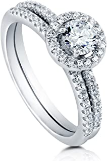 Rhodium Plated Sterling Silver Halo Promise Engagement Wedding Ring Set Made with Swarovski Zirconia Round 0.74 CTW