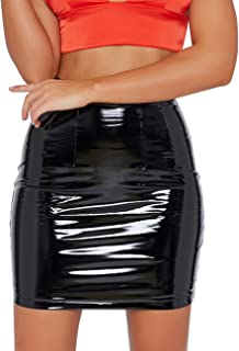 just quella Women's Classic High Waist Sexy Slim Mini Pencil Leather Skirts 9043