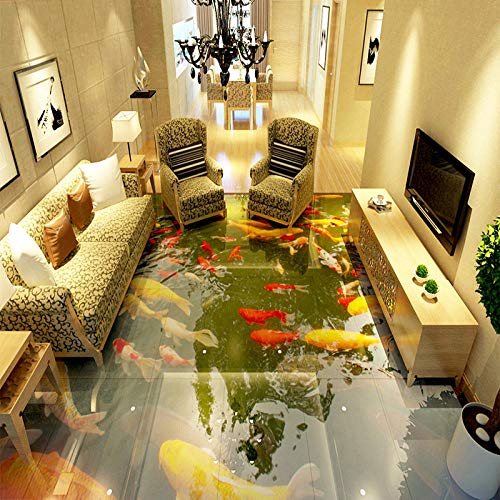 Personalizado autoadhesivo impermeable piso PVC papel tapiz sala de estar baño estilo chino carpa murales fotográficos 3D baldosas pegatinas-400 * 280cm
