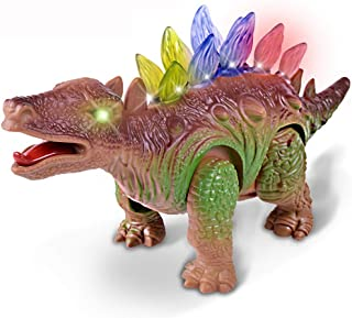 OHraDWord Walking Triceratops Dinosaur Toy Figure with Many Lights & Loud Roar Sounds, Real Movement,Dinosaur Children's Night Light and Bedroom Decoration.