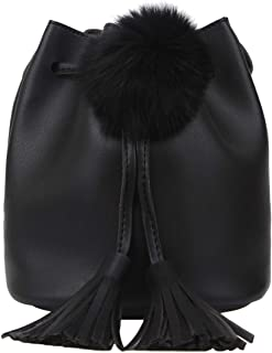 Fawziya Pom Pom Purses And Handbags Crossbody Tassel Bucket Bag Small