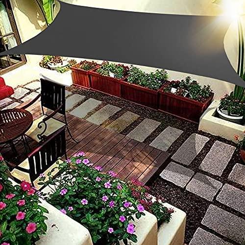 Wsaman 5x4m Sonnensegel Sonnenschutz Rechteck, Terrasse Garten Balkon Camping, Wetterschutz, Windabweisend Wasserabweisend mit UV Schutz mit Befestigungsset für Garten, Balkon, Terrasse,Dark Gray
