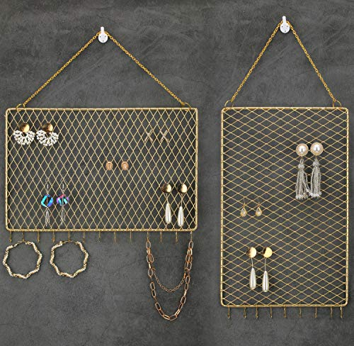 Heesch 2 Pack Earring Wall Holder Hanging Earring Organizer Wall Mounted Jewelry Organizer Display Decorative Metal Diamond Shape with Hooks for Necklaces Bracelets (Gold)