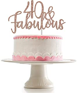 Rose Gold Glittery 40 & Fabulous Cake Topper for 40th Birthday Party Decorations,Birthday Cake Topper Decor