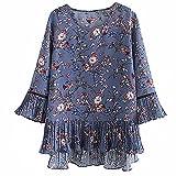 N\P Camisa de gasa con manga trompeta para mujer, estilo retro, de primavera y verano, suelta, blusa floral de gran tamaño
