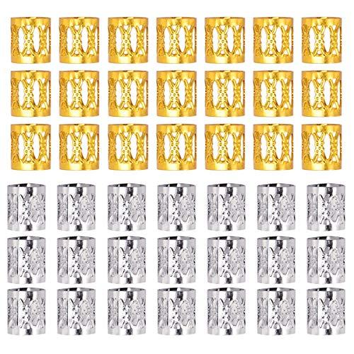 Manschetten Haarschmuck, 50 Stück verstellbares Aluminium geflochtenes Haar Zubehör, Gold Silber