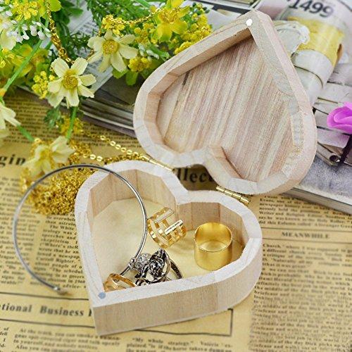 Joyero con forma de corazón para pendientes, collar, anillo, caja de almacenamiento de madera, caja de joyería retro, color: 1 (color: 1)