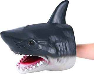 COGO MAN Shark Puppets Soft Rubber White Shark Head Model Role Play Toys Realistic Sea Animal Teaching Tool Hand Puppets for Kids Suitable for Small Hands - Cake Home Car Decoration
