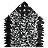 ZWOOS Bandanas Paisley, 12 Piezas Foulards, Pañuelos para el cuello para Hombre y Mujer (Negro)
