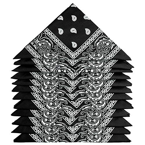 ZWOOS Bandanas für Herren und Damen, 12er-Pack Paisley Kopftuch, Neuheit Cowboy Halstücher für Modekoordinate (Schwarz)