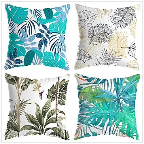 Juego de 4 Cuadrada Fundas de cojín Lino de algodón Throw Cojín Decorativas Hojas Azul Verdoso para sofá Cama Dormitorio decoración 50x50cm(20x20in)