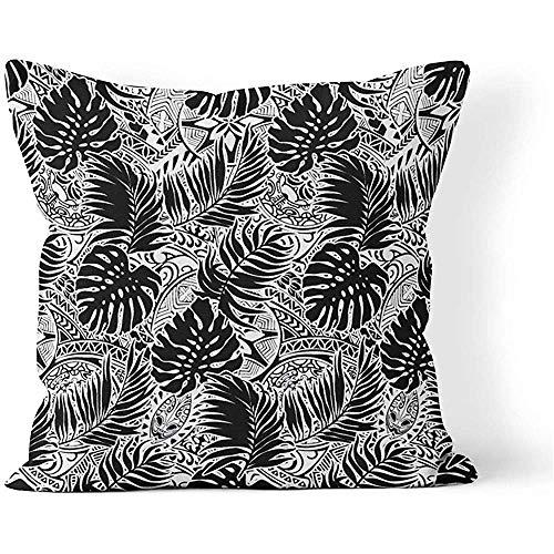 Fodera per cuscino per cuscino quadrato 45x45 cm (18 pollici) Foglie polinesiane tropicali e tribale in nero bianco Cuscino per tatuaggio Decorazioni per divani di casa Cerniera nascosta Federa in poliestere