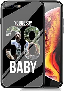 RUIWEI RWNO-223 Youngboy Never Broke Again Designed for iPhone 6/6s Case,Tempered Glass Back Cover and Black Anti-Scratch Shock Absorption Cover Case