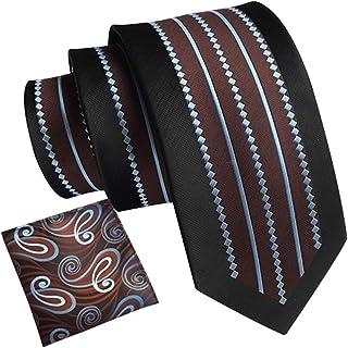 amropi Hombre Vestir Cachemir Corbatas Necktie y Floral Cuadrado Bolsillo Conjunto para Boda