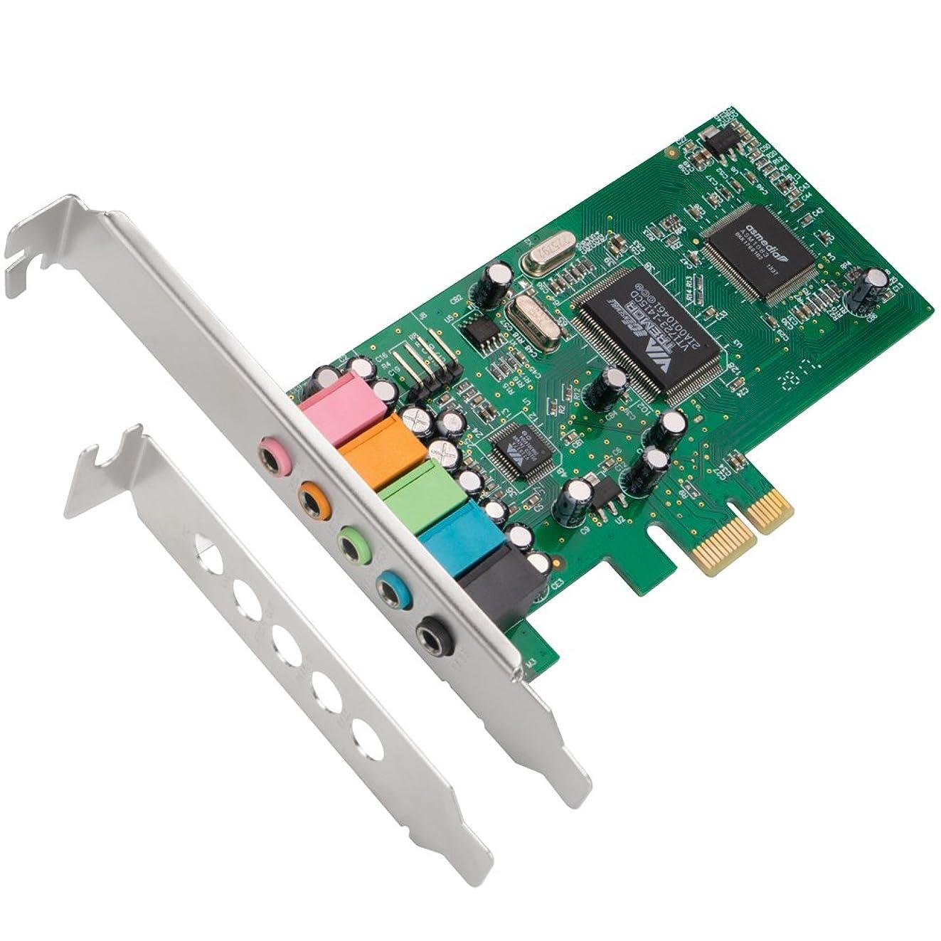QNINE PCIe Sound Card for PC Windows 10, PCI Express Desktop Sound Adapter with Low Profile Bracket, 3D Stereo PCI-e Audio Card, VIA 1723 Chip 32/64 Bit Sound Card for Windows XP / 7/8