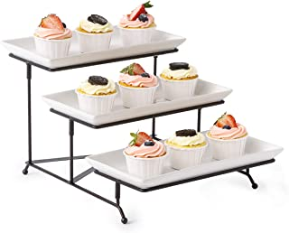 3 Tier Serving Stand Collapsible Sturdier Rack with 3 Porcelain Serving Platters Tier Serving Trays for Fruit Dessert Presentation Party Display Set
