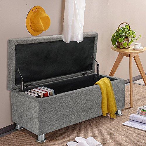 Panana Regalsystem Sitzhocker 102 x 42 x 46 cm, Sitzcube als Fußablage, aus Leinen, belastbar bis 300 kg Aufbewahrungsbox – Grau - 3