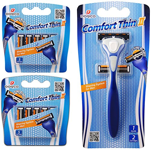 Dorco Comfort Thin II- Two Blade Razor Blade Shaving System (12 Pack + 1 Handle)