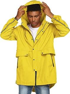 Mens Breathable Rain Jacket Waterproof with Hood Windbreaker All Weather