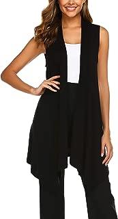Women's Sleeveless Cardigan Draped Open Front Vest Asymmetric Hem S-XXL