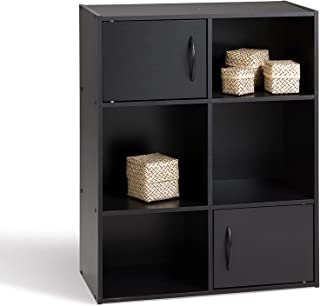 Alsapan Compo Meuble de Rangement 4 Casiers + 2 Portes Bibliothèque Etagères Cubes Noir 61,5 x 29,5 x 80 cm