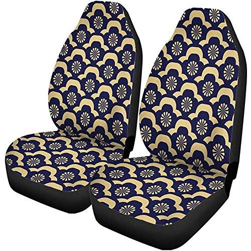 Enoqunt autostoelhoezen, Japans luxe bloemenpatroon, goud en zwartblauw, moderne set met 2 beschermers