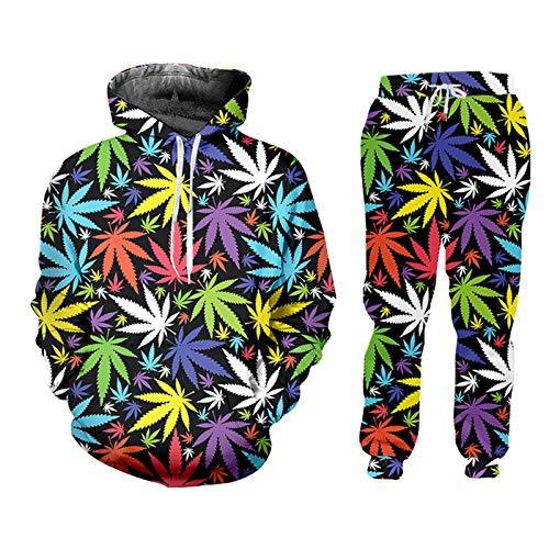 Trajes de chándal para Mujeres de Hojas Coloridas 3D Hombre Hombre Hoodie + Pantalones de Jogging Set Harajuku Weeds HSPA60165 XXXL