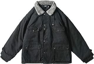 Black/Green Vintage Distressed Lapel Cardigan Lamb Down Cotton Jacket Winter Thickened Zip Warm Denim Jacket