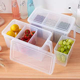 Kitchen Storage Containers with Handle, Plastic Food Storage Organizer Boxes with Lids for Refrigerator, Fridge, Freezer C...