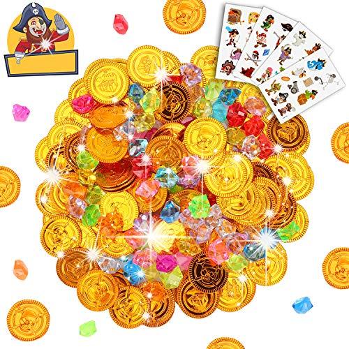 Sinwind Schatzsuche Kindergeburtstag, Goldmünzen des Piratenschatz Spielzeugs und Piraten Schmucksteine für Kinder Party Favor Piratenparty Mitgebsel (204Stück)