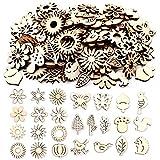 Jicyor Adornos Artesanales Hojas de Madera, 150 piezas formas de animales plantas Rodajas de Flores de Madera DIY para Árbol De Navidad Bodas Manualidades Decoración De Árboles De Mesa