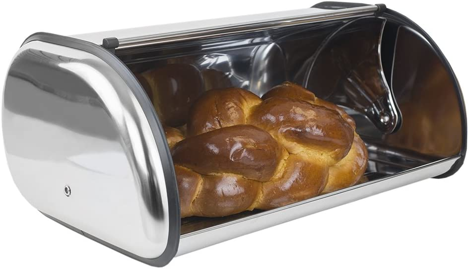 Amazon Com Home Basics Stainless Steel Bread Box Kitchen Storage And Organization Stores Brownies Cookies Loaves Of Bread Silver Kitchen Dining