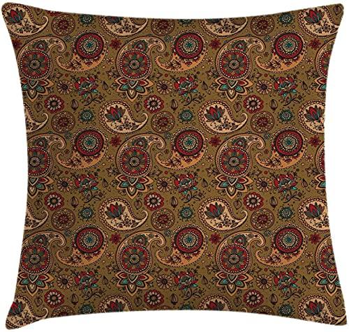 Paisley Throw Pillow Cojín, motivo de flores de hojas multicolores de inspiración vintage con estampado de tonos tierra, funda de almohada decorativa cuadrada decorativa, 45 x 45 cm, marrón pálido