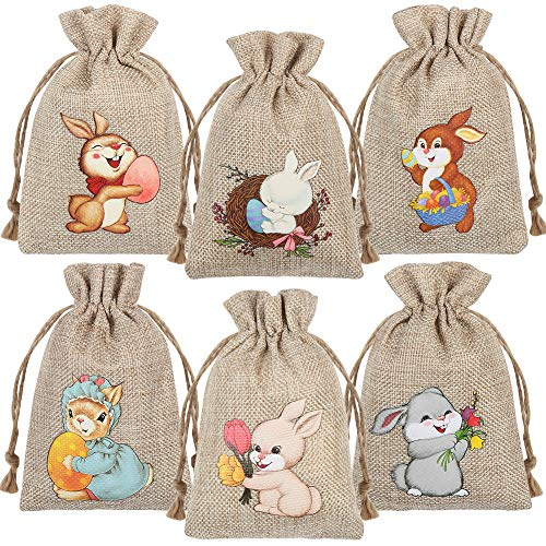 CCINEE 36PCS Easter Burlap Bags with Drawstring,Bunny Burlap Gift Bag Jute Line Goody Bags for Kids Party Favor Supply