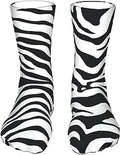 Szipry, Calcetines deportivos unisex con estampado de cebra en blanco y negro