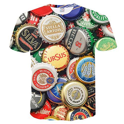 Neue 3D-Wasser-Tropfen-Digital Printing Short Sleeve-Paar-T-Shirt Männer Sommer-T-Shirt-zufällige Spitze Kansa (Color : TX-241, Size : XXS)