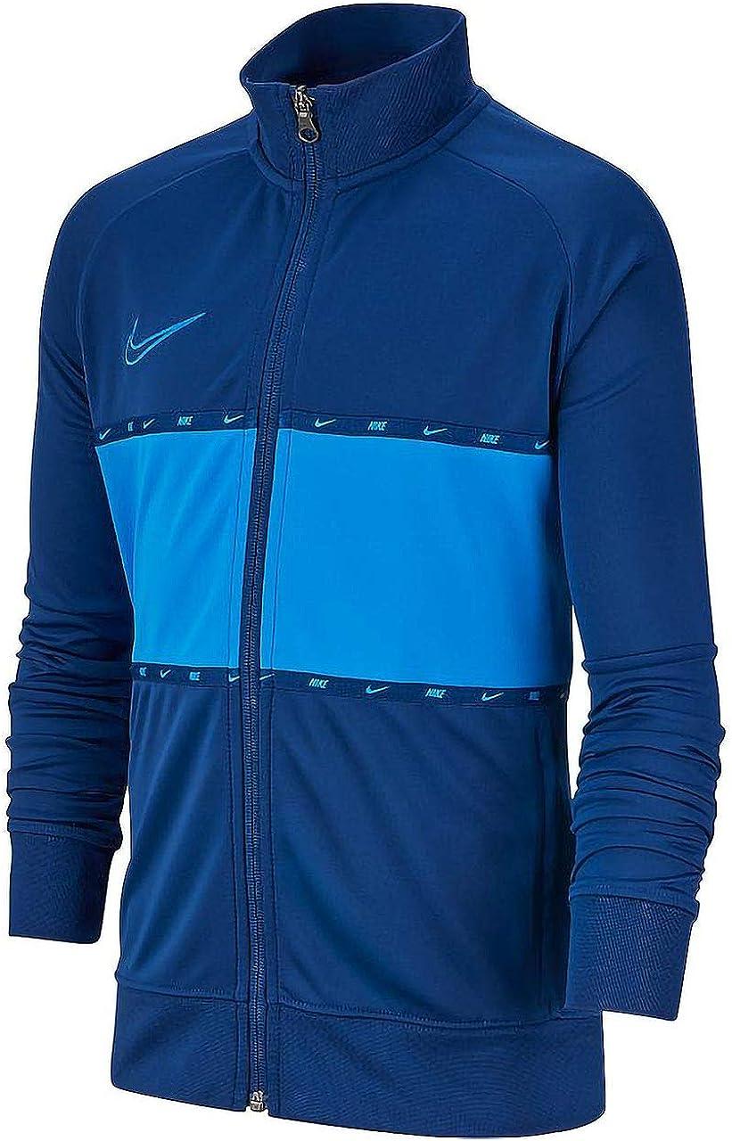 Nike Older Boys Dri-Fit Colorblocked Academy Soccer/Football Full Zip Logo Jacket Coastal Blue/Light Blue, Style BV5829/Color 407, Older Boys Size Medium (Size 10/12)