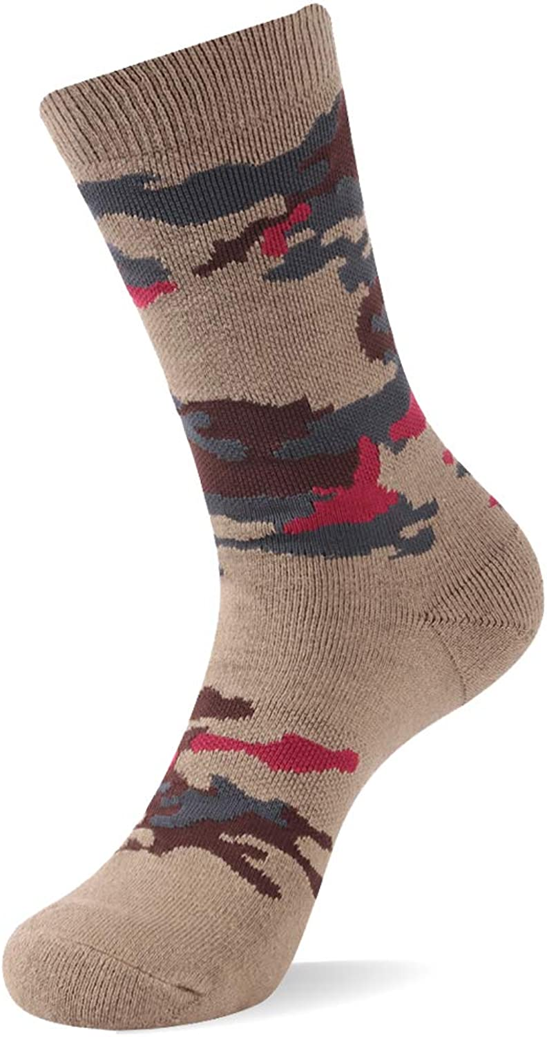 RTZAT Outdoor Hiking Camouflage Cotton Crew Socks for Men and Women, 1 2 3 Pairs