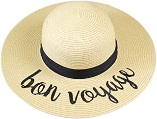 Me Plus Women Spring Summer Beach Paper Embroidered Lettering Floppy Hats