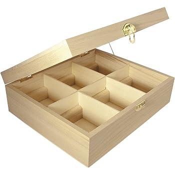 Rayher scatola porta bustine tè tisane in legno grezzo naturale 6 scomparti 21,5 x 18 x 7 cm capiente per conservare e organizzare tè tisane decorazione fai da te bricolage