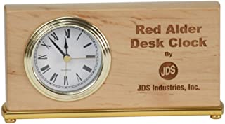 Personalized 4 x 7 1/2 Red Alder Horizontal Desk Clock - BRAND NEW
