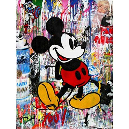 DIY 5D Full Diamond Painting Kit,Graffiti Drawing Mickey Mouse Diamond Art Kits for Adults Paint with Diamonds Kits Diamonds Embroidery by Numbers 11.8x15.7 inch