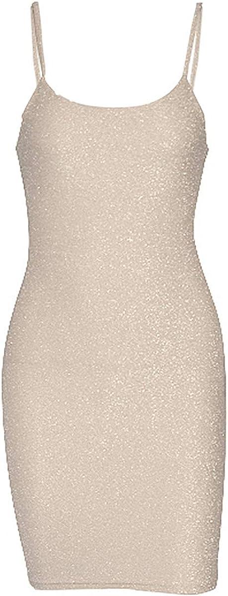 Aislor Womens Sexy Glittery Spaghetti Straps Back Lace Up Bandage Bodycon Mini Dress Party Clubwear