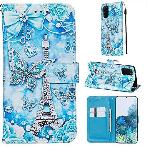 Nadoli Leder Hülle für Galaxy A71,Bunt Turm Schmetterling Malerei Ultra Dünne Magnetverschluss Standfunktion Handyhülle Tasche Brieftasche Etui Schutzhülle für Samsung Galaxy A71