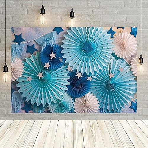 Fondo de cumpleaños de Flor de Guirnalda Azul, Fondo de fotografía de decoración de Retrato de Baby Shower para niños para Accesorios de fotografía de Estudio Vinyl-250x180cm