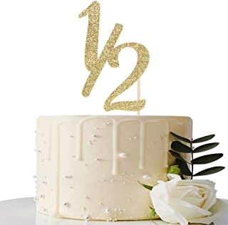 Gold Glitter Half Year Old Cake Topper - Half Year Cake Topper - for Half Year Anniversary/Baby Shower/Baby's Half Year Ol...