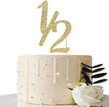 Gold Glitter Half Year Old Cake Topper - Half Year Cake Topper - for Half Year Anniversary/Baby Shower/Baby's Half Year Old Birthday Party Decorations