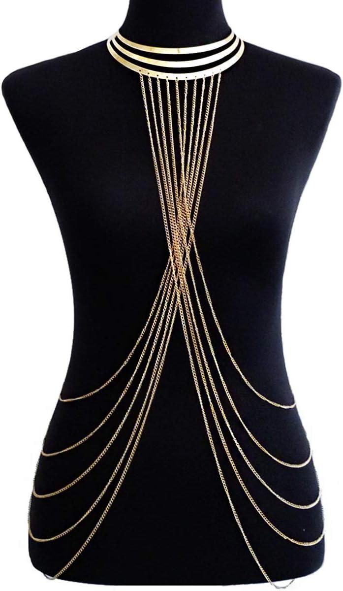 Ginfonr Body Chain Sexy Women Golden Long Tassel Fashion Layered Necklace Choker Jewelry Belly Waist Bra Hot Bikini Beach Harness Birthday Anniversary Festival Gift for Lady Girls